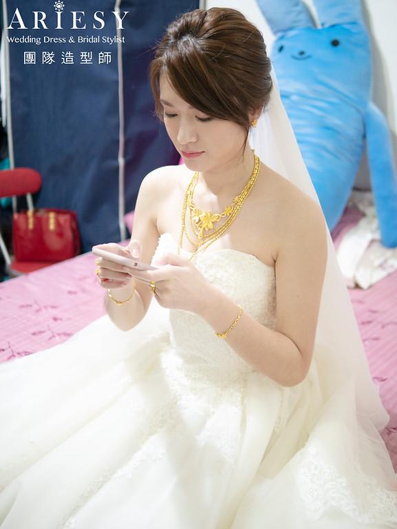 白紗造型,韓風盤髮造型,韓風新娘造型,自然輕透妝感,新娘秘書