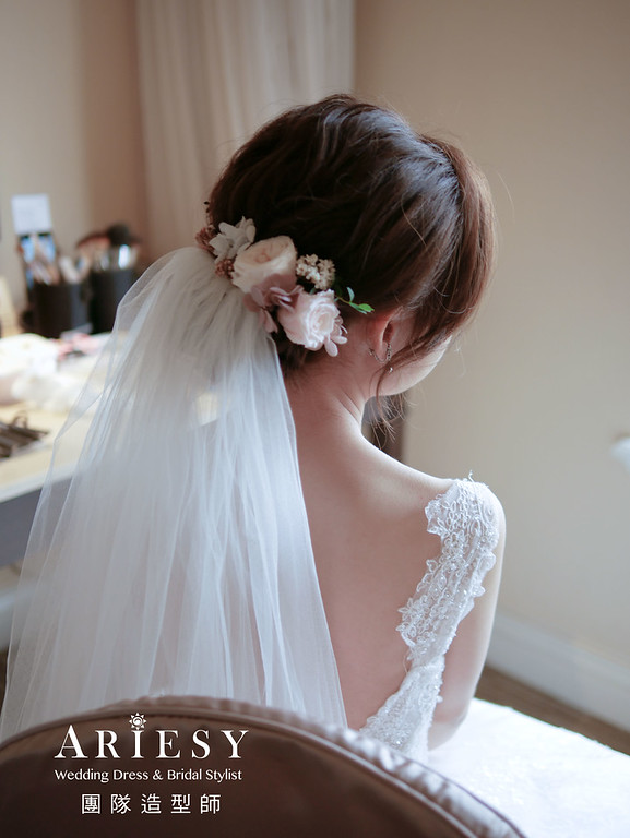 自然新娘妝感,鮮花白紗造型,韓風新娘造型,自然輕透妝感,新娘秘書