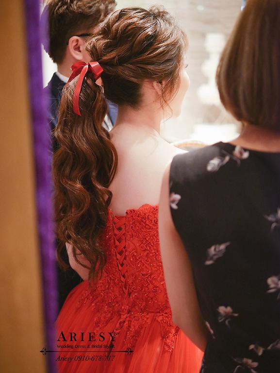 蝴蝶結新娘造型,新莊頤品,紅禮服造型,編髮新娘造型,馬尾紅禮服