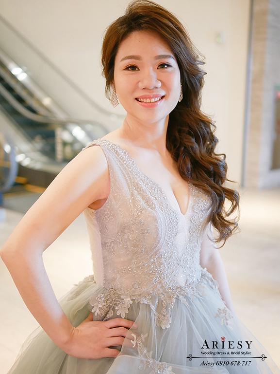 時尚名媛造型,新娘時尚髮型,愛瑞思,ARIESY,新莊頤品婚宴,灰色禮服造型