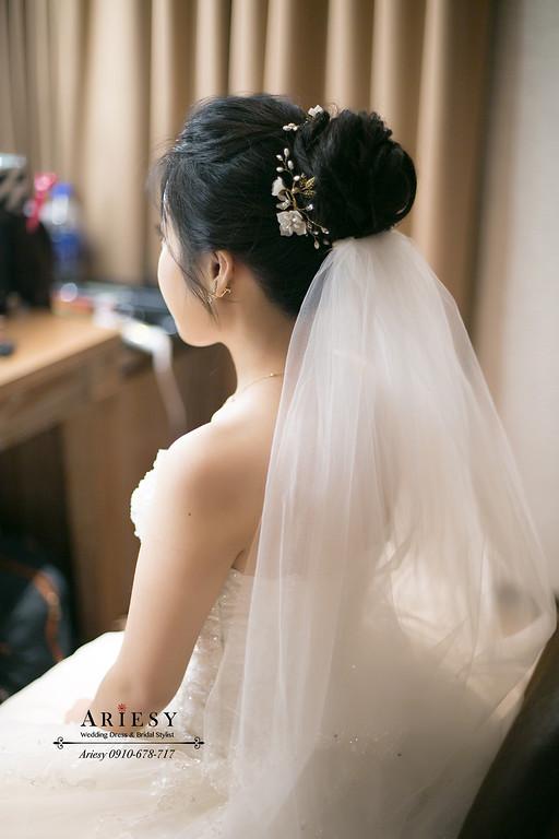 黑髮新娘秘書,黑髮新秘,愛瑞思,ARIESY,新莊頤品婚宴,黑髮新娘造型
