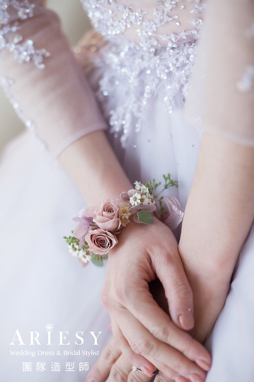 送客造型,不凋花手環花,新娘鮮花造型,新秘花藝,手腕花