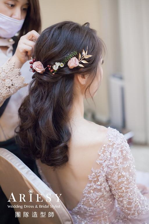 送客造型,粉紫色禮服髮型,不凋花造型,新秘花藝,公主頭造型