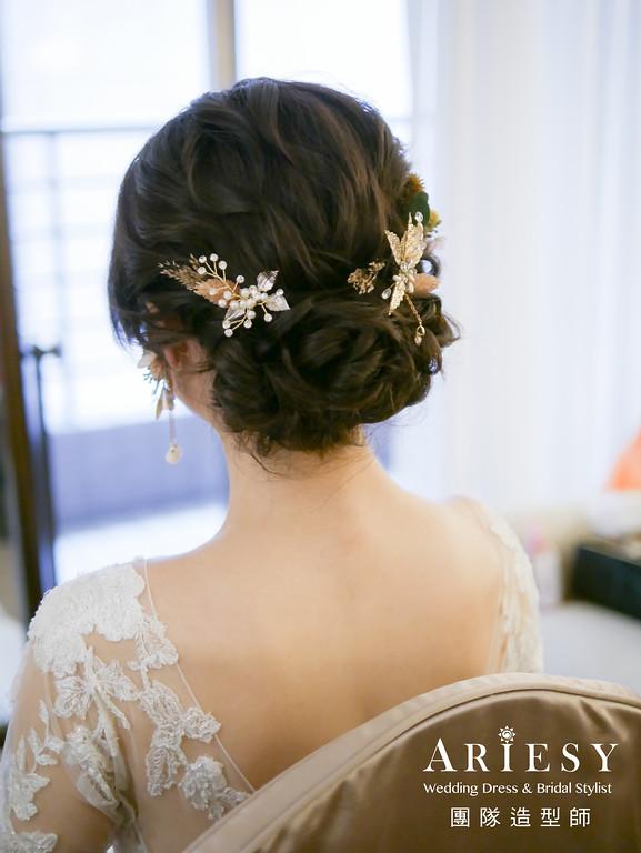 白紗進場髮型,新秘花藝,花耳環,編髮髮型,歐美風格