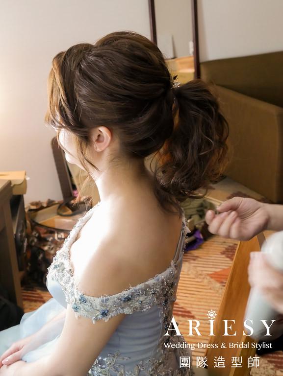 敬酒造型,馬尾造型,新娘自然妝,新娘秘書,新娘髮型