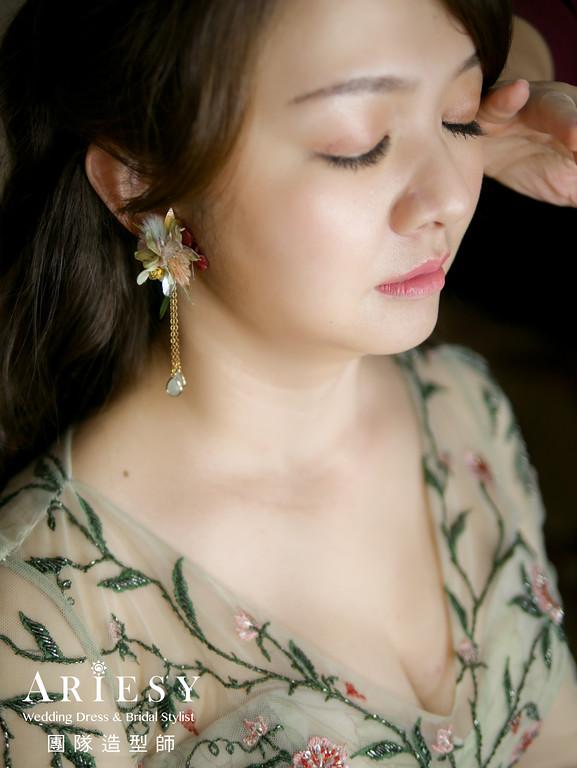 送客造型,放髮造型,新娘髮型,新娘妝,花耳環