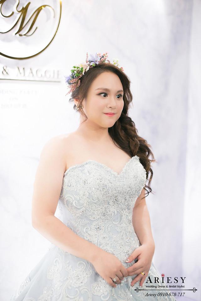 台北新娘秘書,晶華酒店新秘,鮮花新秘,新娘花圈,髮量少新娘髮型