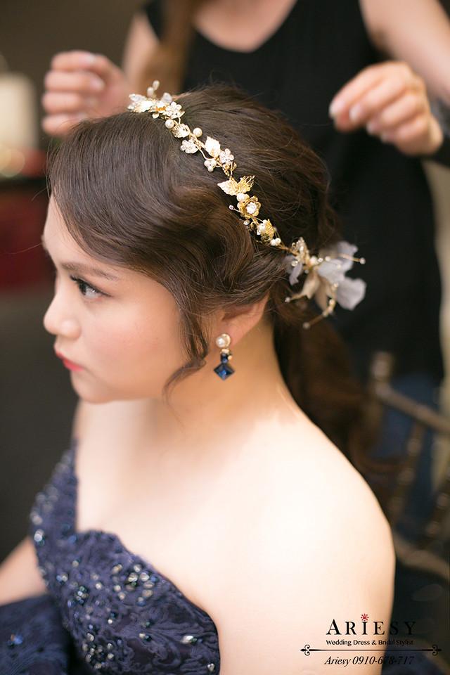 台北新娘秘書,晶華酒店新秘,新娘造型,新娘花圈,髮量少新娘髮型
