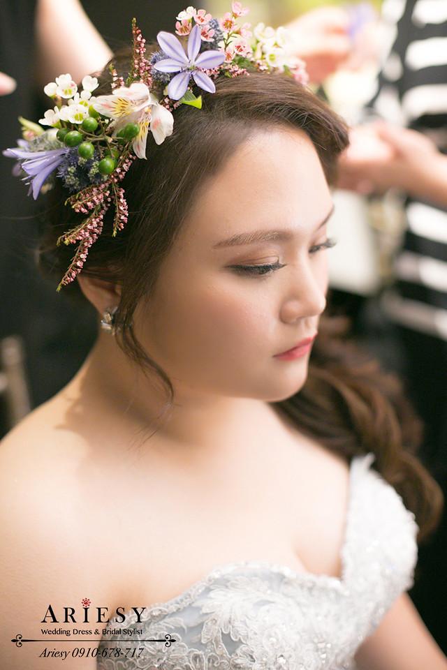 歐美新娘秘書,晶華酒店新秘,粉色繡球花新娘造型,新娘花圈,髮量少新娘髮型