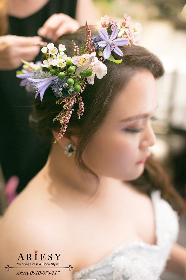 歐美新娘秘書,晶華酒店新秘,新娘造型,新娘花圈,髮量少新娘髮型