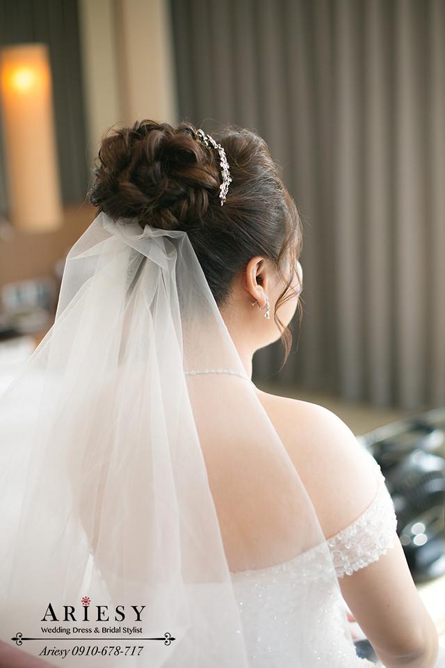 新娘秘書,晶華酒店新秘,粉色繡球花新娘造型,新娘花圈,髮量少新娘髮型