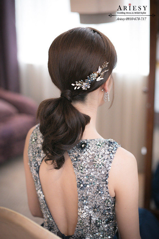 ,名媛髮型,新秘推薦,新娘秘書,時尚低馬尾,新娘造型