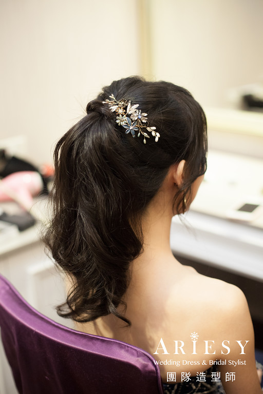 敬酒造型,深藍色禮服造型,新娘馬尾造型,新秘推薦,新娘髮型