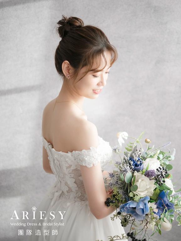 新娘秘書、韓系新娘妝感清透妝感、韓風新娘髮型、2019台北新秘風格