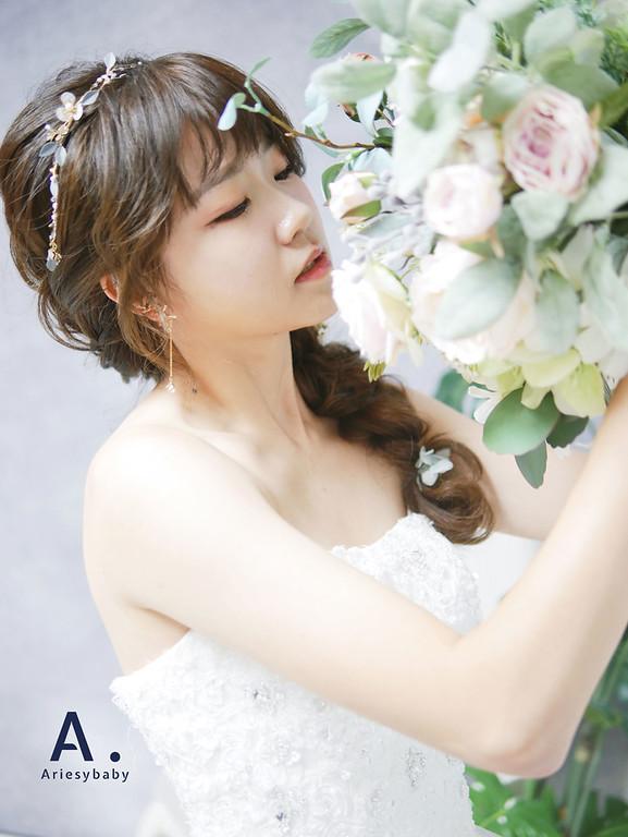 Ariesybaby造型團隊,白紗造型,新娘造型,ARIESY愛瑞思品牌訂製手工婚紗,編髮造型,新祕