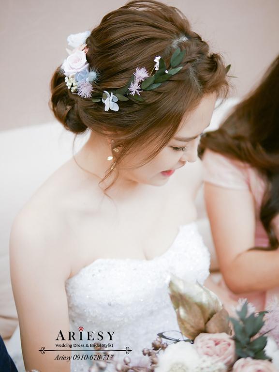 新娘秘書,新娘造型,歐美編髮造型,仙仙風新娘,鮮花新秘,台中日月千禧
