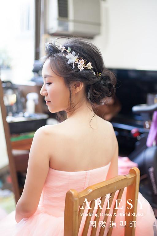 蓬鬆編髮,台北新娘秘書推薦,文定造型,鮮花造型,黑髮造型