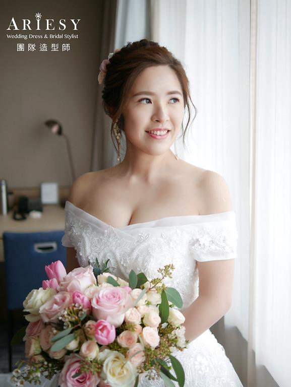 自然清透妝感,鮮花造型,甜美風格,新秘,新娘秘書