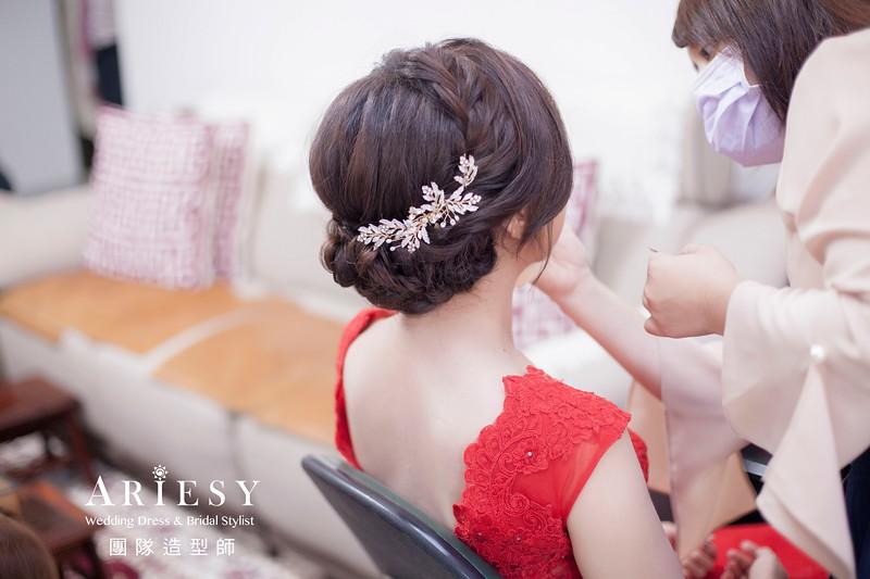 文定髮型,新娘妝感,新娘編髮造型,紅色禮服造型,台北新娘秘書