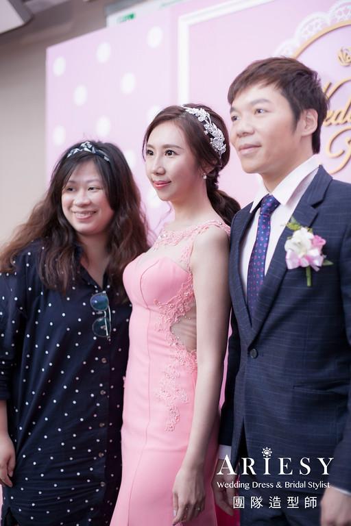 敬酒髮型,名媛風,新娘髮型,粉紅色禮服造型,新秘