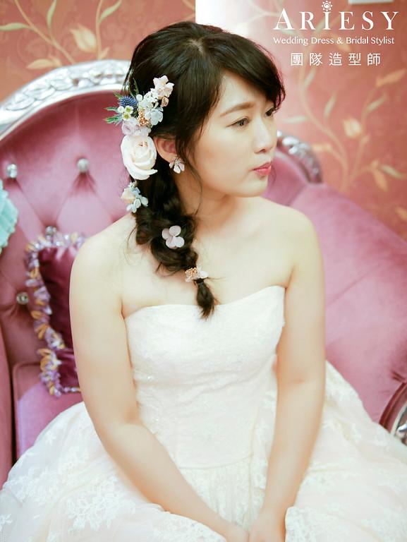 自然新娘妝感,黑髮新娘造型,編髮新娘造型,鮮花花藝造型,新娘秘書