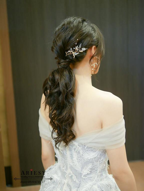 台北新秘推薦,低馬尾黑髮新娘造型,新娘秘書,敬酒送客新娘造型,愛瑞思,ARIESY