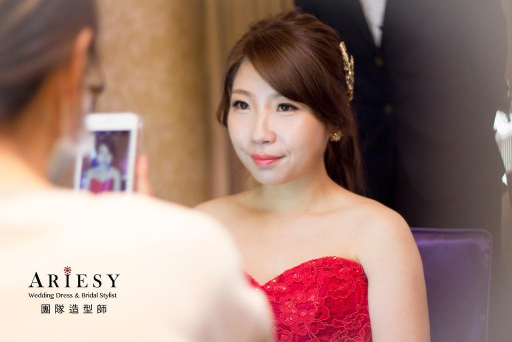 新娘秘書,新秘造型,文定造型,紅色禮服,低馬尾造型
