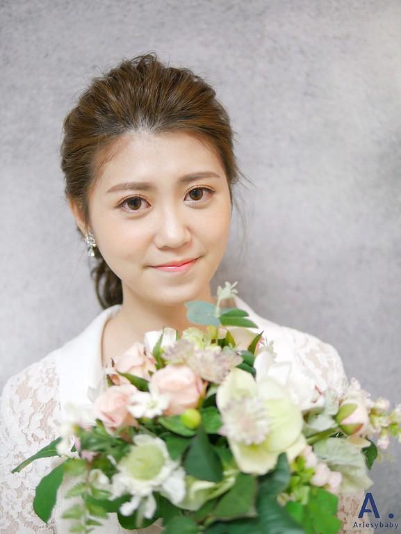 新娘秘書,新秘造型,白紗造型,馬尾造型,韓系新娘妝感