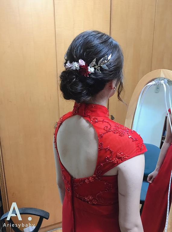 新娘秘書,新娘妝感,紅旗袍新娘造型,新娘編髮花藝造型,新秘推薦