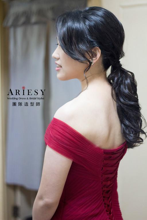 新娘秘書,新秘造型,自然清透妝感,黑髮造型,紅禮服造型