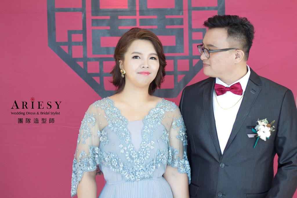 新娘秘書,短髮盤髮造型,新秘造型,自然清透妝感,台北新秘