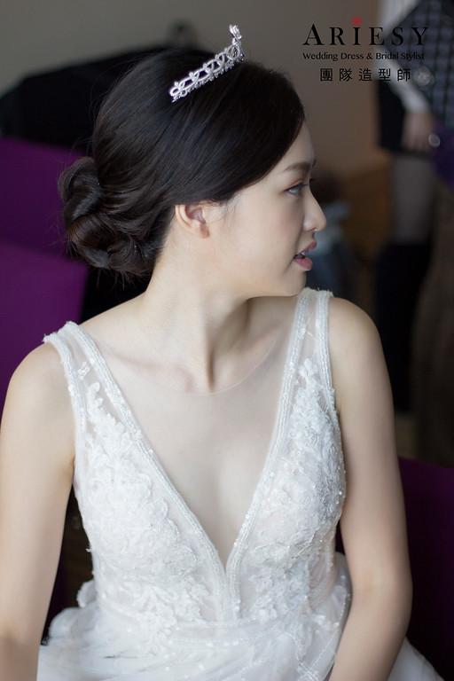 新娘秘書,新秘造型,桃園福容飯店,白紗新娘造型,新娘韓系妝感