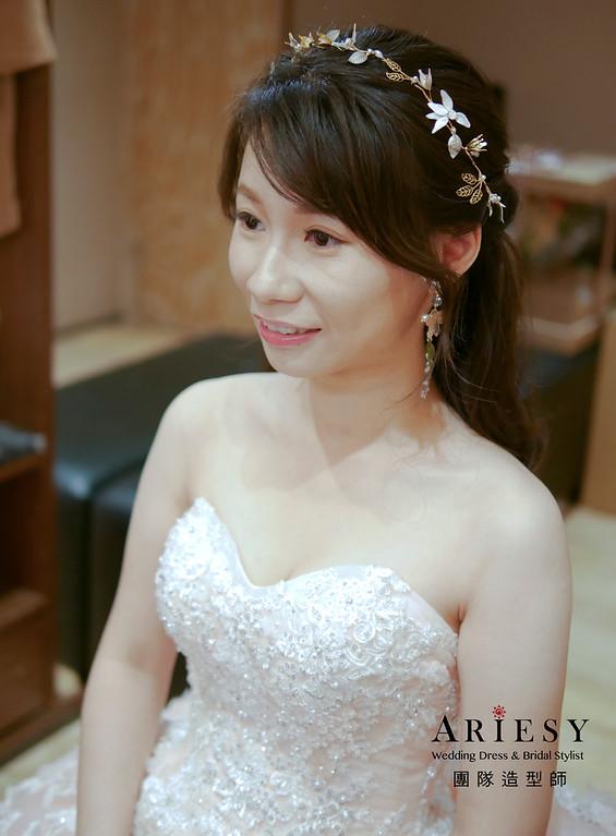 自然清透妝感,編髮新娘造型,鮮花編髮造型,甜美新娘造型,公主頭造型