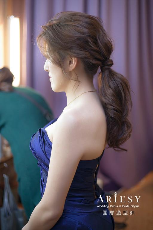 敬酒造型,編髮造型,新娘祕書,新娘造型,新祕,清透妝感,馬尾造型