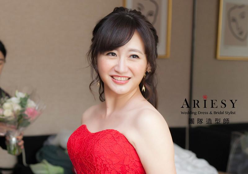 敬酒造型,蓬鬆編髮造型,新娘祕書,新娘造型,新祕,紅色禮服造型