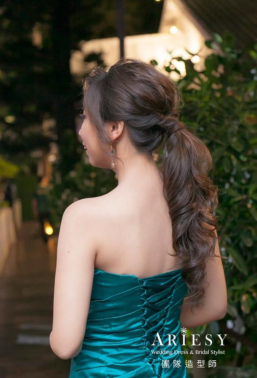 敬酒造型,蓬鬆編髮造型,新娘祕書,新娘造型,新祕,低馬尾髮型