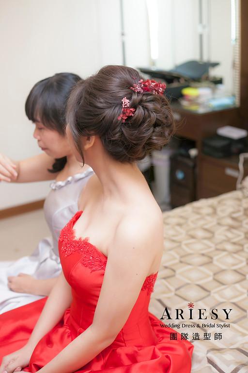 文定造型,蓬鬆編髮造型,新娘造型,新娘祕書,花藝新祕,紅色禮服造型