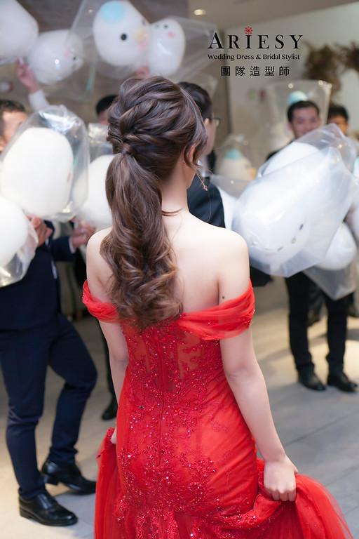 敬酒造型,蓬鬆編髮造型,新娘祕書,新娘造型,馬尾造型,新祕