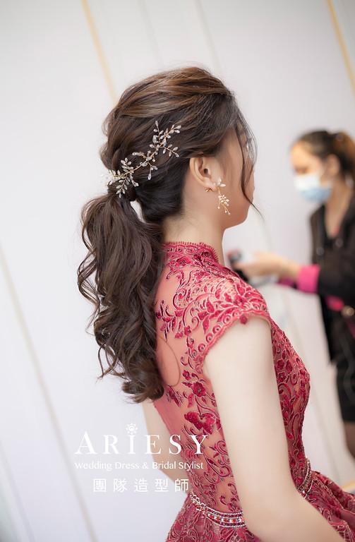 桃園新祕,新娘秘書,新娘造型,新娘編髮,馬尾造型,自然清透妝感,新娘髮型,精緻手作新娘飾品,推薦新秘