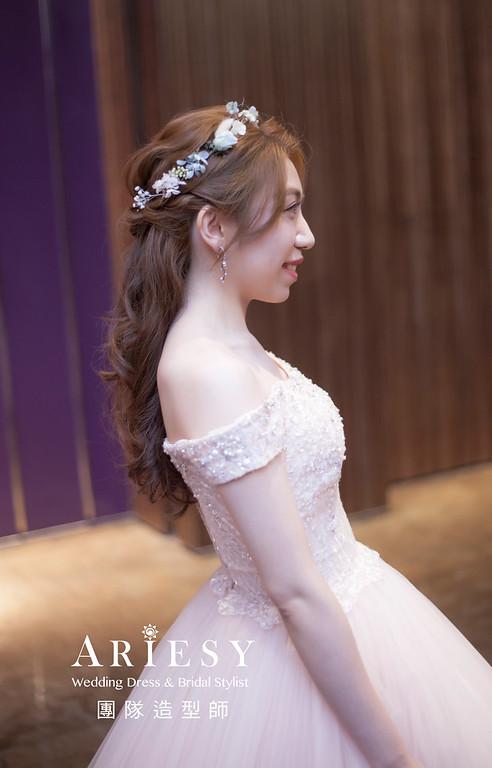 台北新祕,新娘秘書,新娘造型,編髮新祕,送客造型,自然清透妝感,新娘髮型,編髮造型,花藝新祕