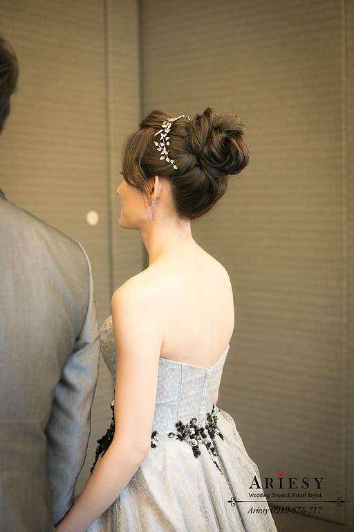 灰色晚禮服,盤髮造型,丸子頭造型,新娘造型,新娘髮型