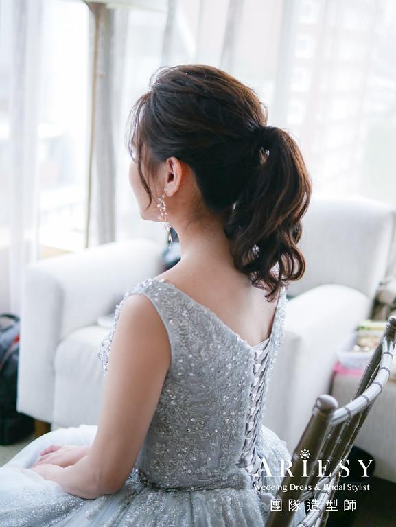 敬酒造型,淺藍色禮服造型,新秘推薦,馬尾造型,新娘髮型