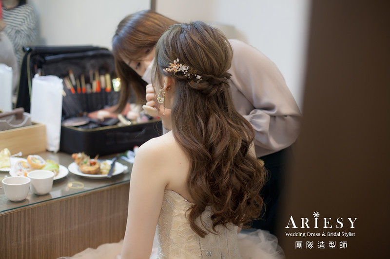 敬酒造型,新秘推薦,新娘公主頭造型,新秘手作飾品,新娘髮型
