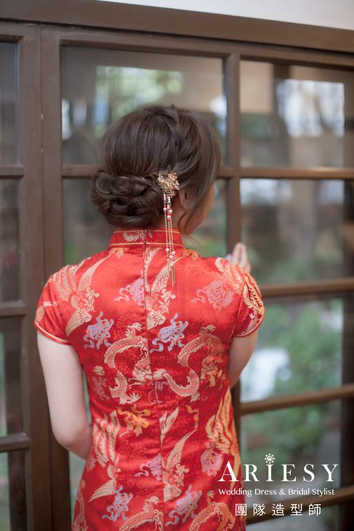 文定髮型,旗袍造型,台北新秘,新娘編髮,新娘妝