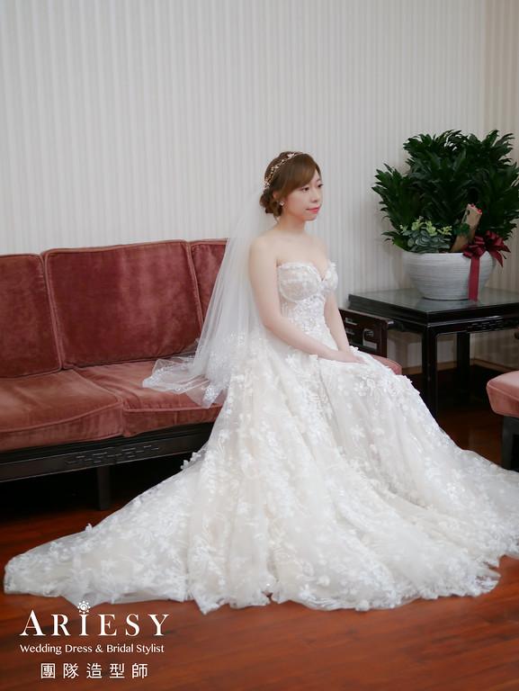 迎娶造型,編髮造型,氣質新娘,新娘自然妝,新娘白紗造型