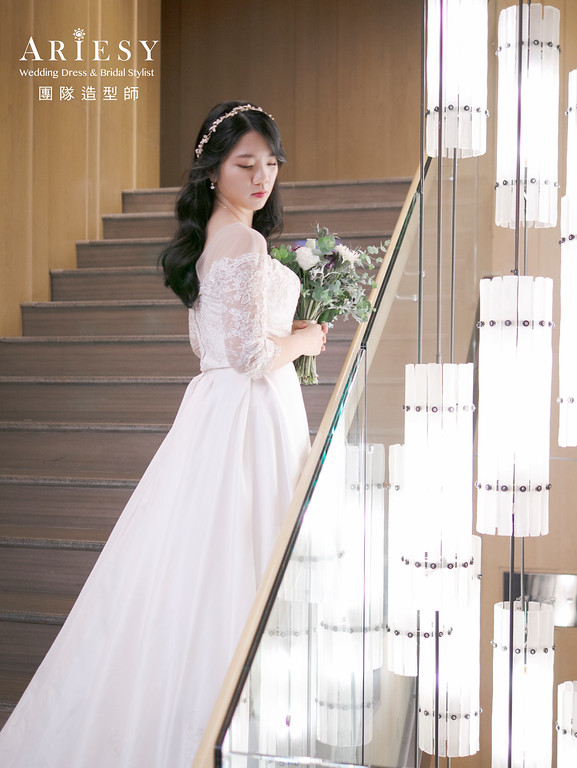 新秘推薦、單眼皮新娘、花圈造型、戶外證婚造型、黑髮新娘