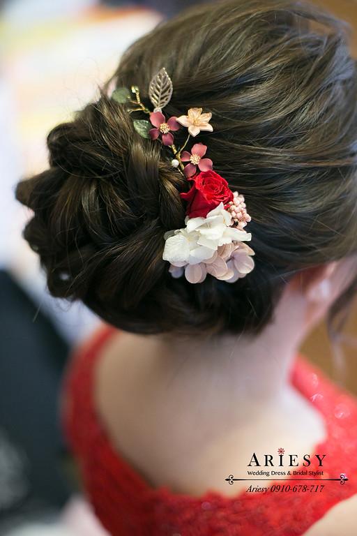文定新娘造型,單眼皮新娘,紅色禮服,新娘髮型,訂結同天,新秘推薦