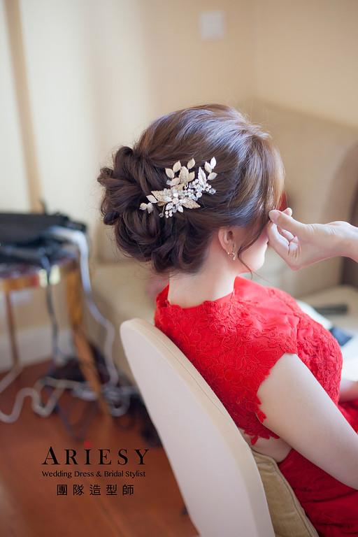 台北新祕,新娘秘書,新娘造型,自然清透妝感,蓬鬆編髮,花藝飾品,新娘髮型,新秘推薦,文定造型