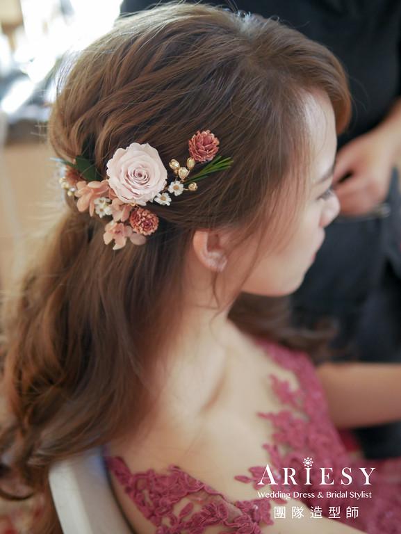 送客造型,新秘花藝,新秘推薦,新娘公主頭,新娘妝