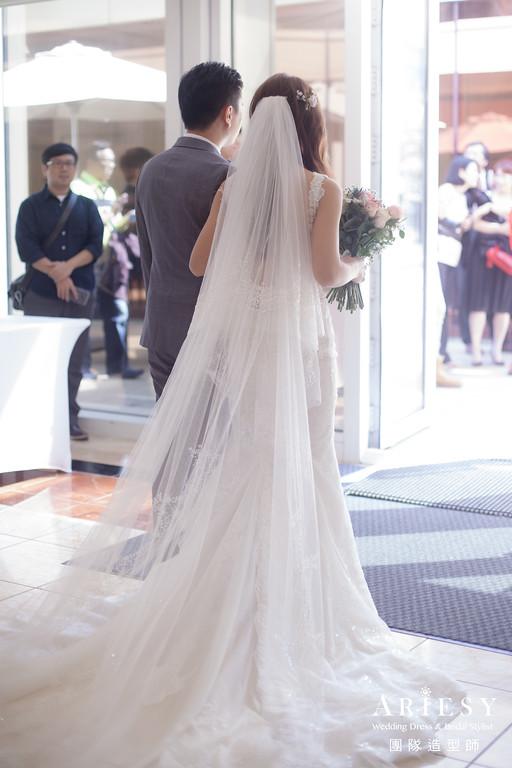 證婚髮型,新秘推薦,新娘妝感,名媛放髮造型,長頭紗造型